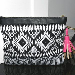 STITCHED Print Wristlet Pouch with Tassel